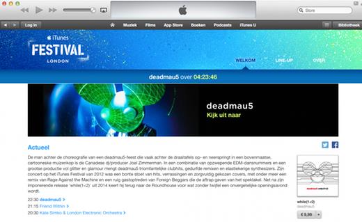 De speciale pagina in de iTunes Store