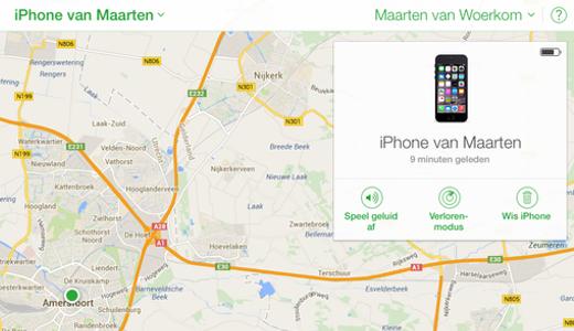 Check de iPhone op iCloud.com