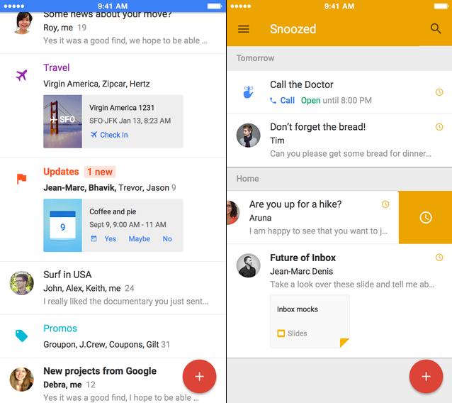 Google Inbox op de iPhone.