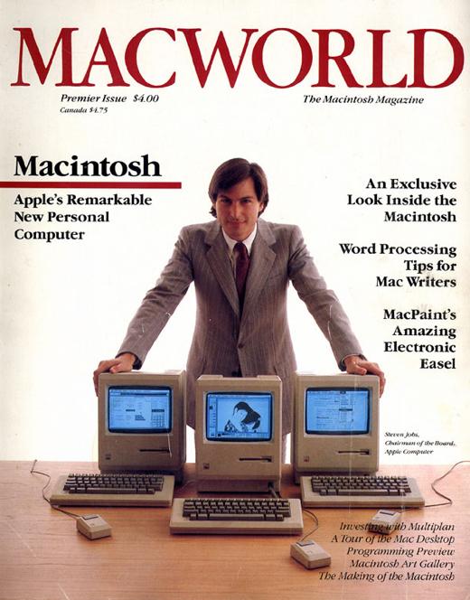 Steve Jobs op de cover van de eerste uitgave van Macworld