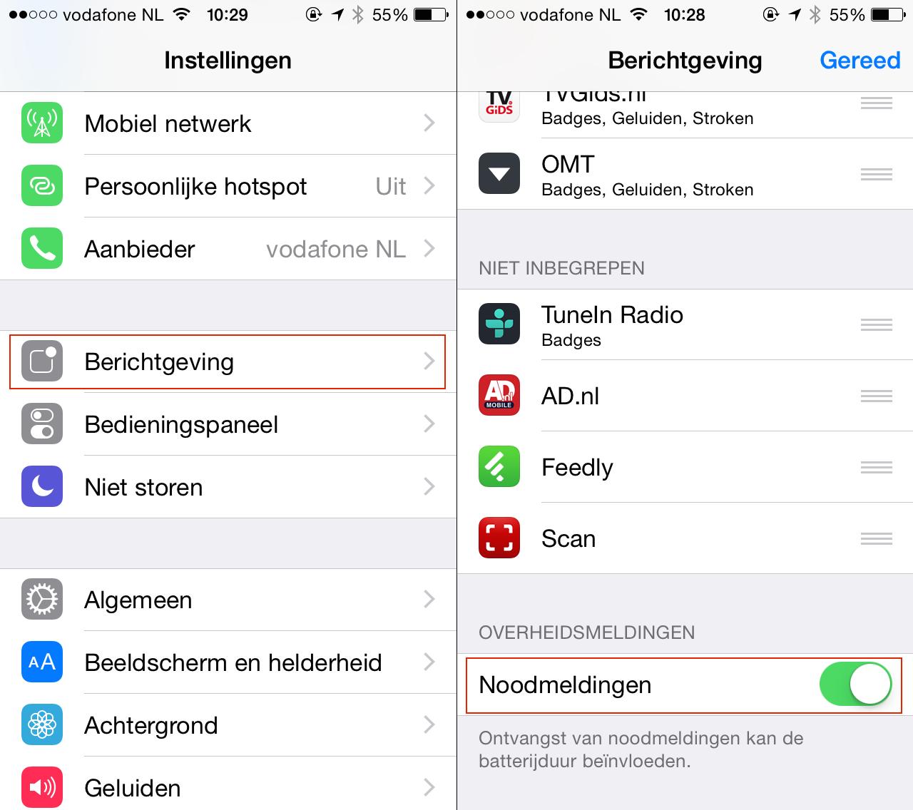 nl-alert noodmeldingen