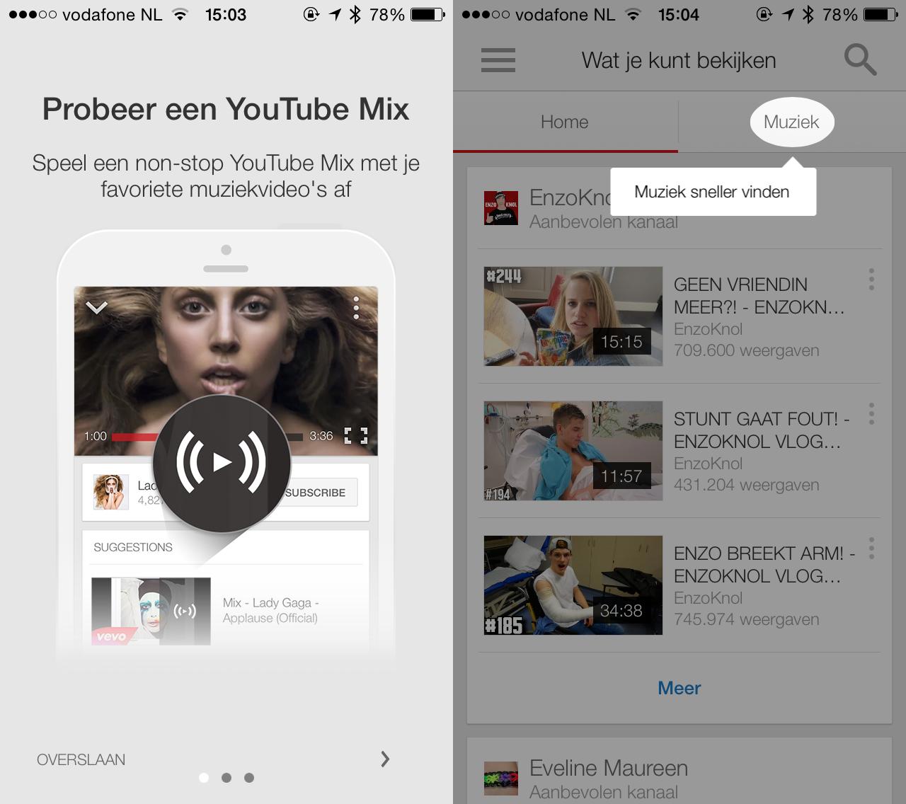 Meer aandacht voor muziek in de YouTube-app.