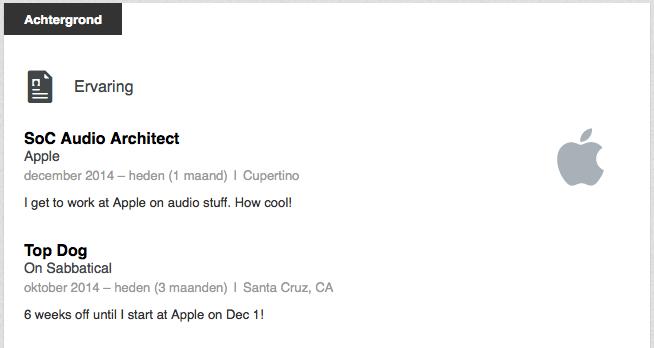 Na 6 weken uitrusten, gaat Massie aan de slag bij Apple.