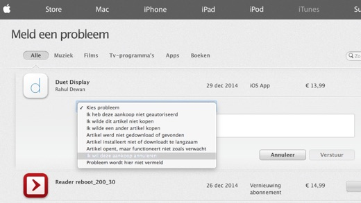 retour sturen doe je via reportaproblem.apple.com