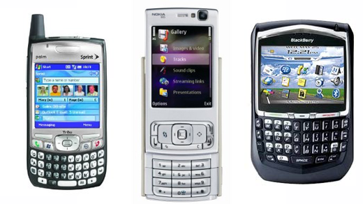Drie populaire telefoons in 2007.