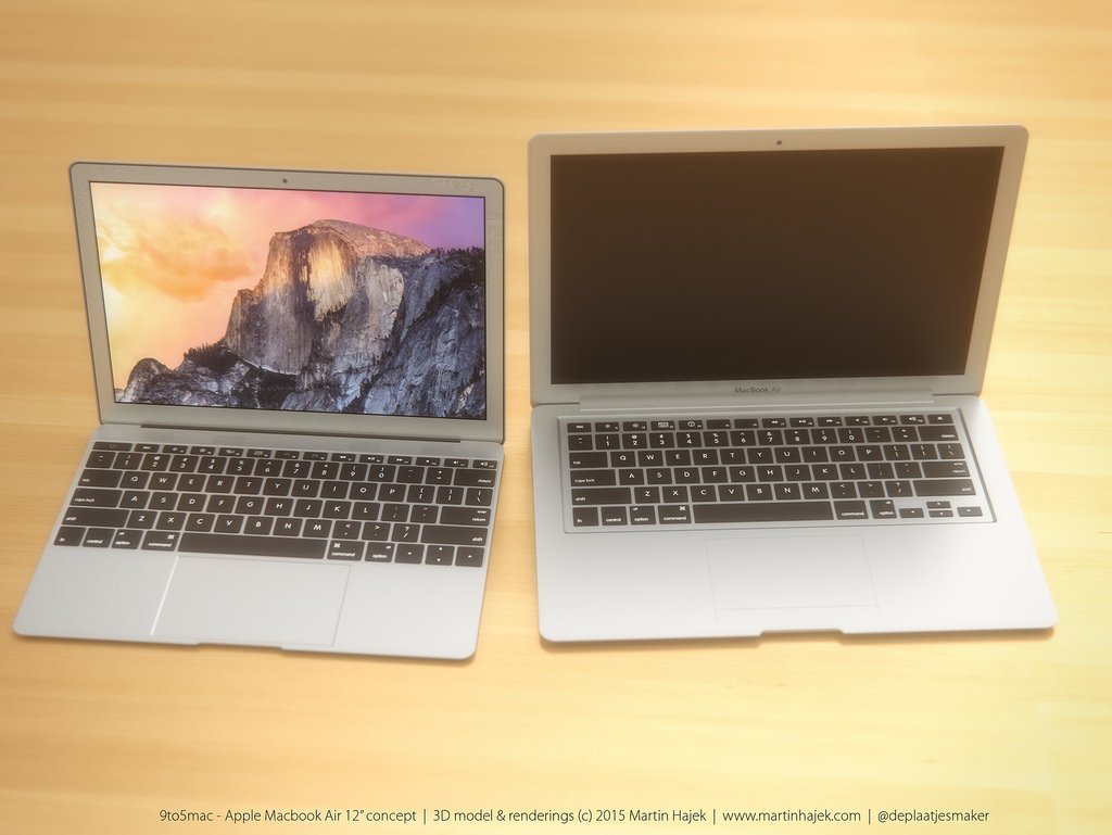 Render van de 12-inch MacBook Air naast een 13-inch Air.