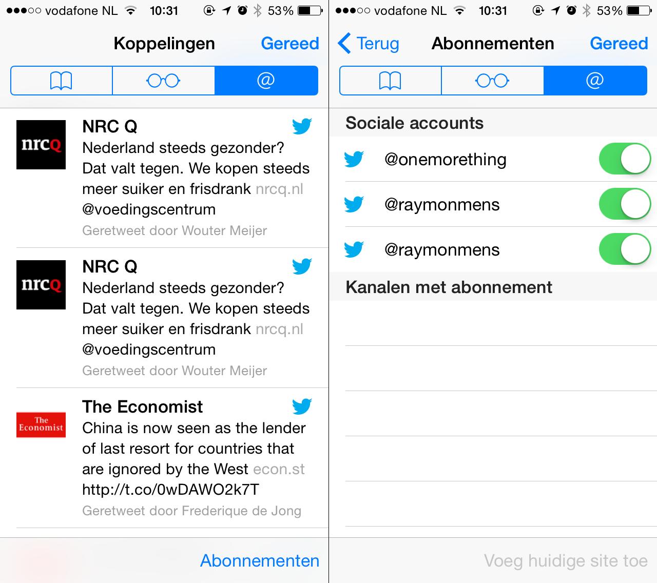 De leeslijst in iOS laat ook links van Twitter zien.