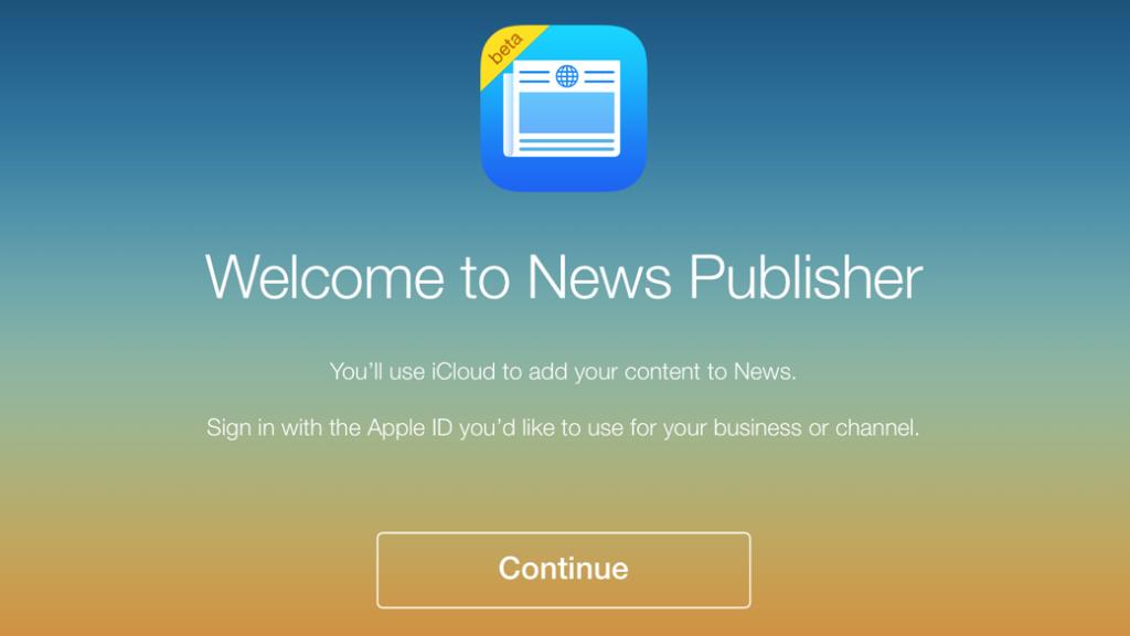 De registratiepagina van de nieuwe News Publisher.