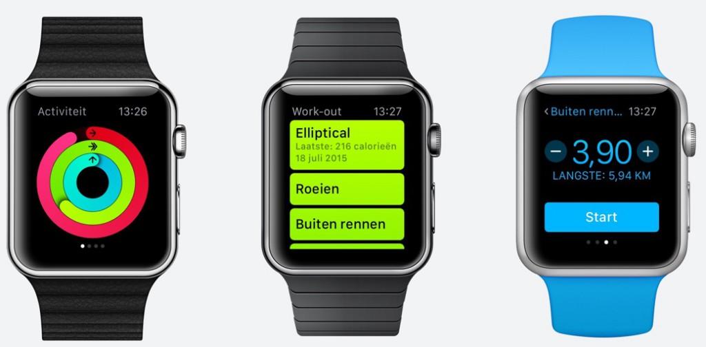De activiteit-ringen en de Work out-app.