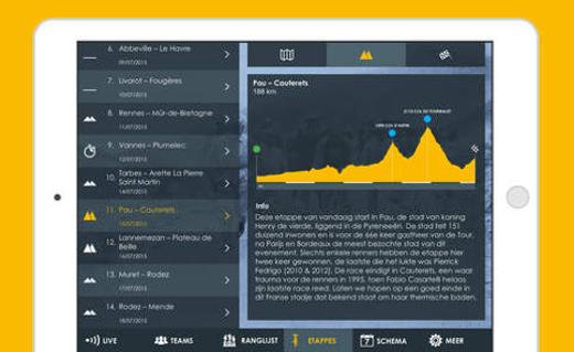 Etappe-informatie in de Wielersport App.