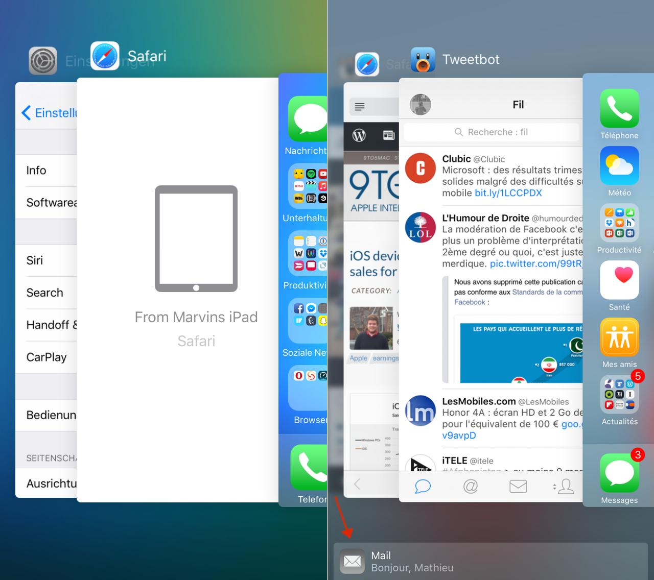 iOS 9 beta 3 (links) en iOS 9 beta 4 (rechts). Screenshots: @MathieuChabod (Twitter).