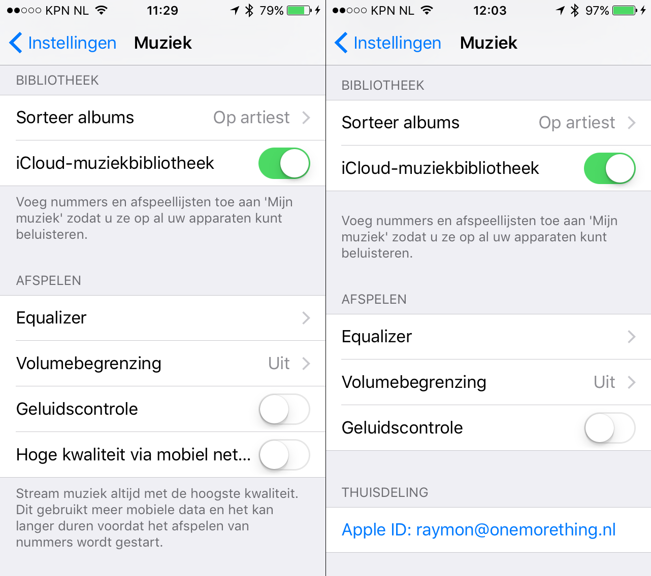 iOS 9 beta 3 (links) en iOS 9 beta 4 (rechts).