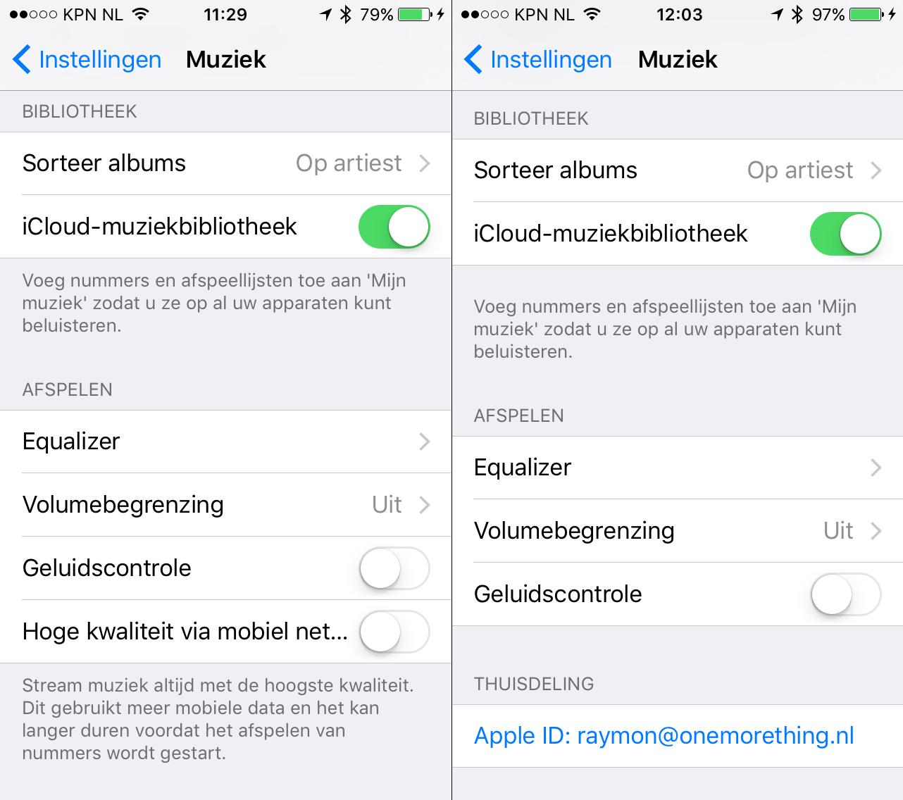 iOS 9 beta 3 (links) en iOS 9 beta 4 (rechts).