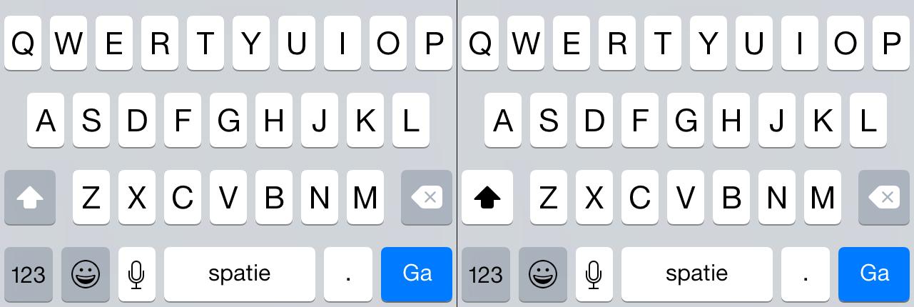 Shiftknop uit- en ingeschakeld in iOS 8.4.