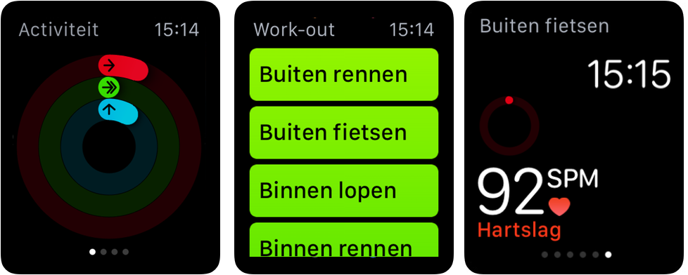 Activiteit- en workout-app op Apple Watch.