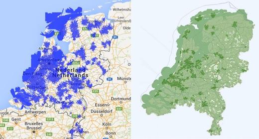 De blauwe gebieden links laten het bereik van Vodafone zien. De donkergroene gebieden rechts geven het bereik van KPN aan