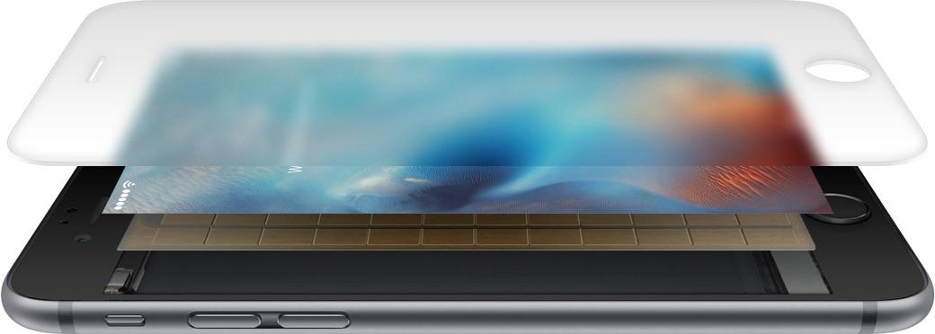 Van onder naar boven: iPhone met Taptic Engine, capacitieve druksensoren, Retinascherm en het glas.