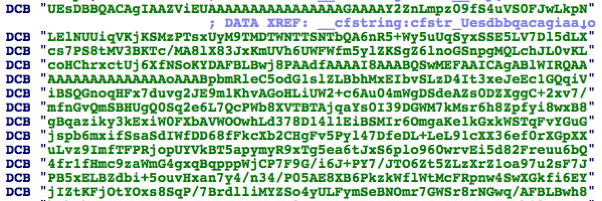 Versleutelde javascript-code in zip-formaat.