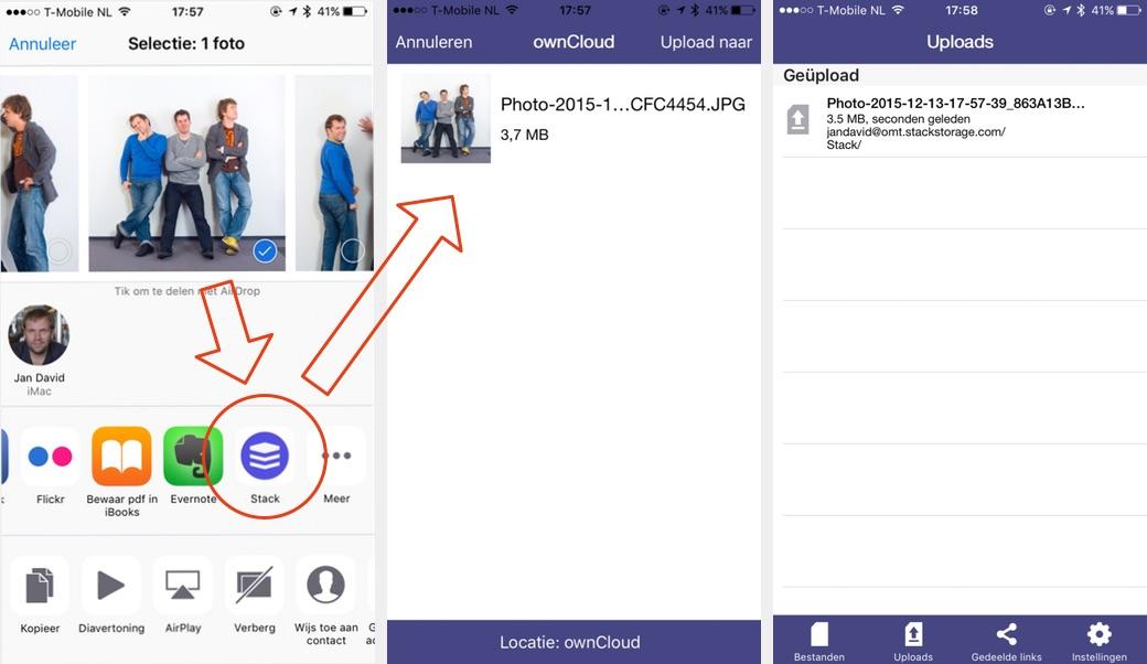 Upload direct vanaf je iOS apparaat via het deelvenster.