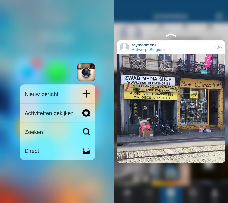 Instagram ondersteunt al enige tijd snelle acties én peak and pop.