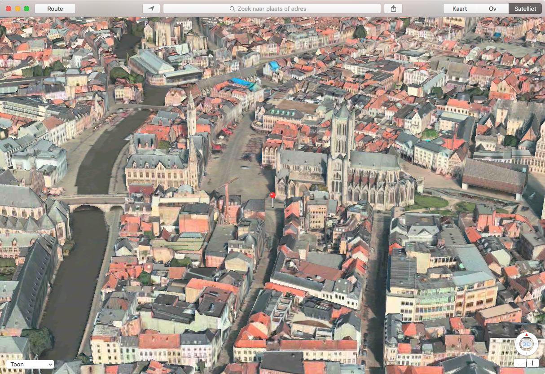 Apple Maps: 3D-weergave van Gent.