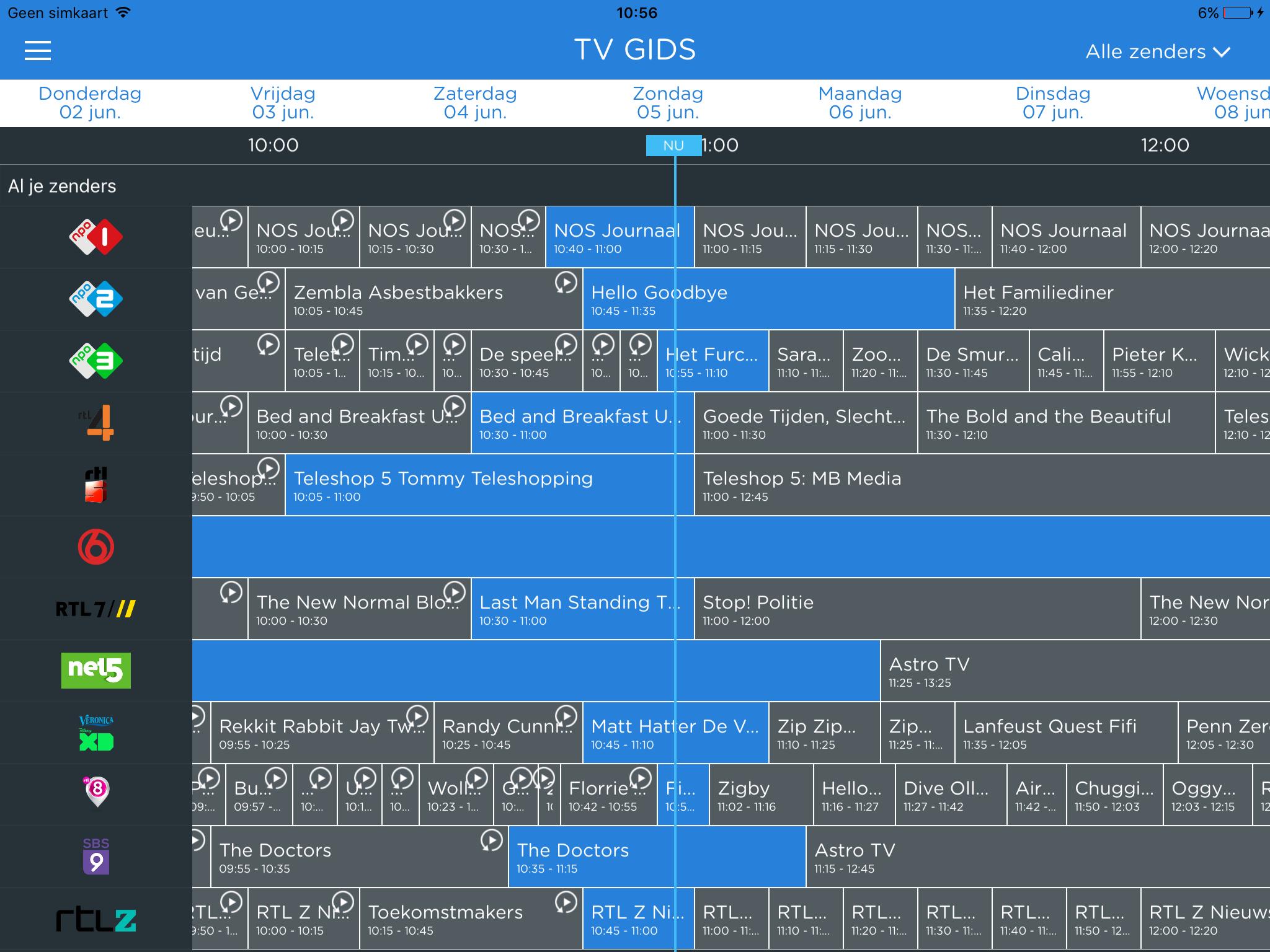 De TV-gids biedt tevens toegang tot uitzending gemist (klik/tap voor groter).