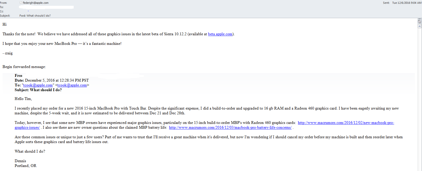 De e-mail waarin
