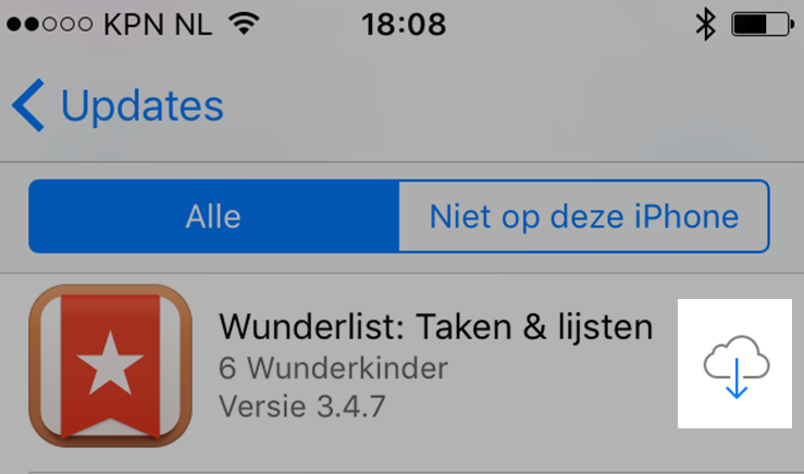 Download in de App Store onder aankopen je eerder gedownloade apps opnieuw (klik/tap voor groter)