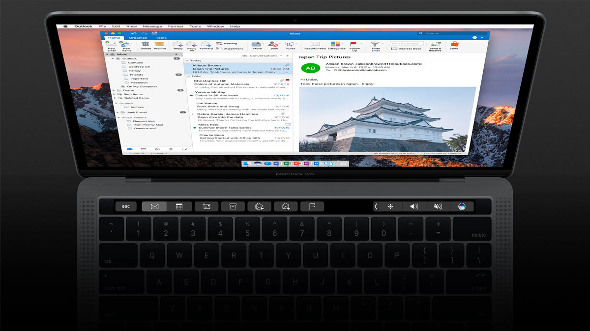 Outlook 2016 Touch Bar
