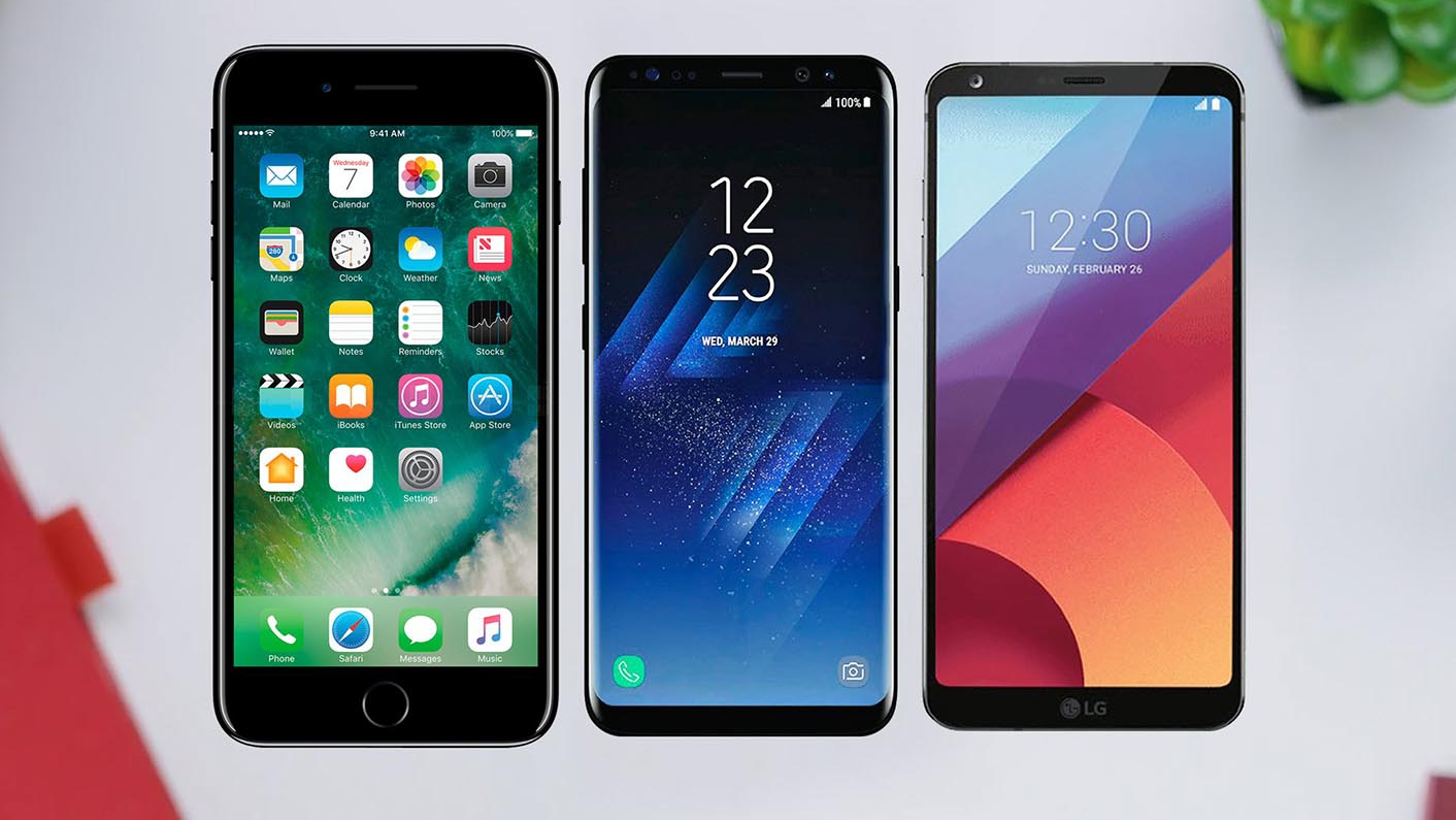 De iPhone 7 Plus, Samsung Galaxy S8 en LG G6.