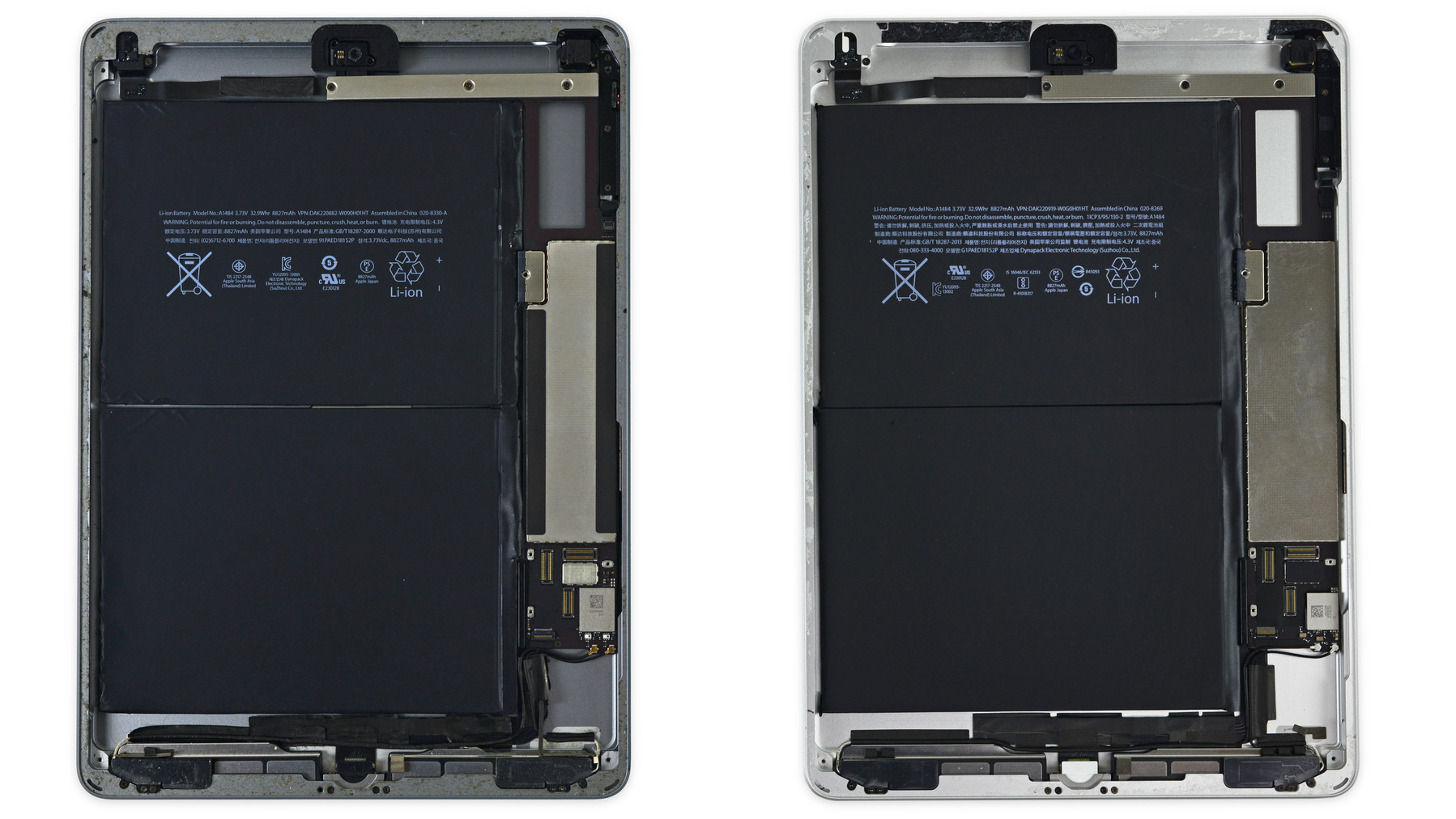 De iPad Air 1 uit 2013 (links) en iPad uit 2017 (rechts).