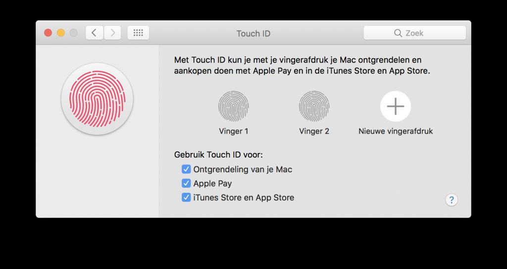 Bij de systeemvoorkeuren kun je precies aangeven waar je Touch ID voor wilt gebruiken: inloggen op je Mac, Apple Pay en/of iTunes & de App Store.