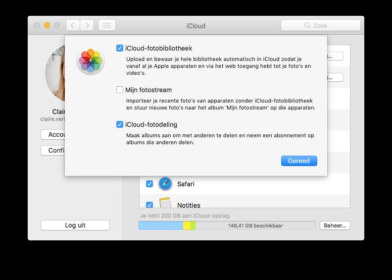iCloud-Fotobibliotheek settings