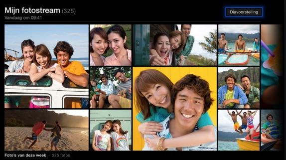 Gebruik Fotostream o.a. voor een diavoorstelling van je laatste foto's op de Apple TV.