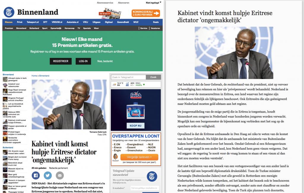 Links zie je het Telegraaf artikel zoals het op de website staat, rechts met Reader-weergave. Klik/tap voor groter.
