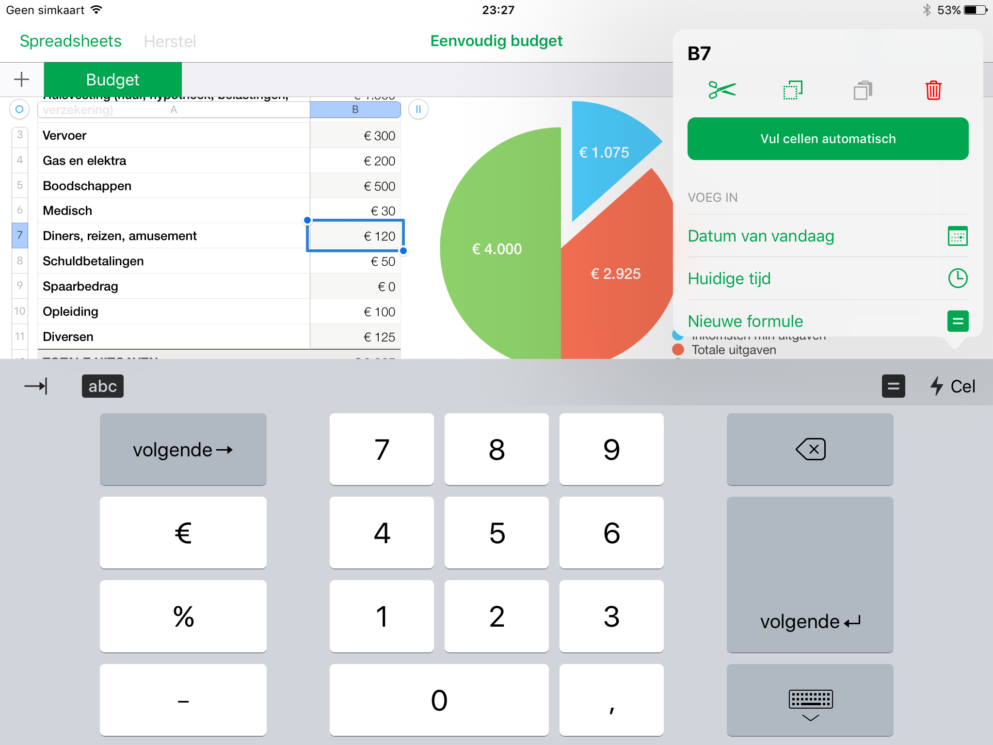 screenshot: numbers ios numeriek toetsenbord