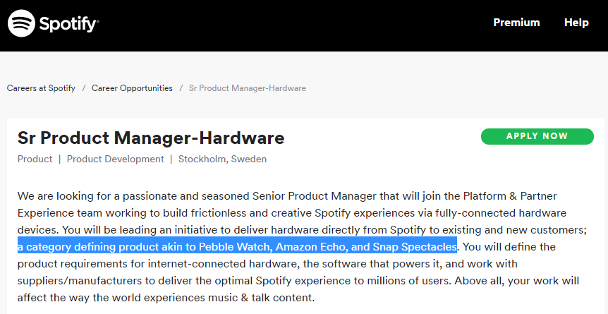 spotify hardware vacature
