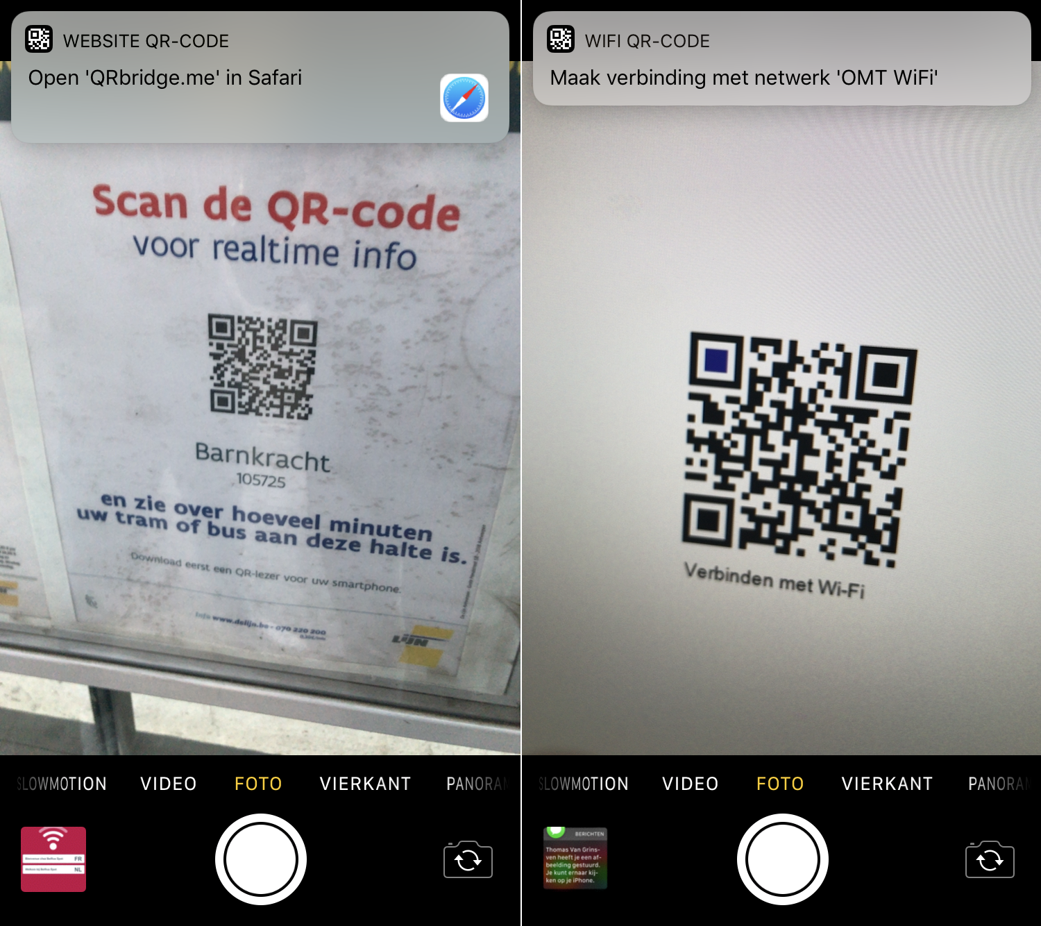 QR codes camera ios 11