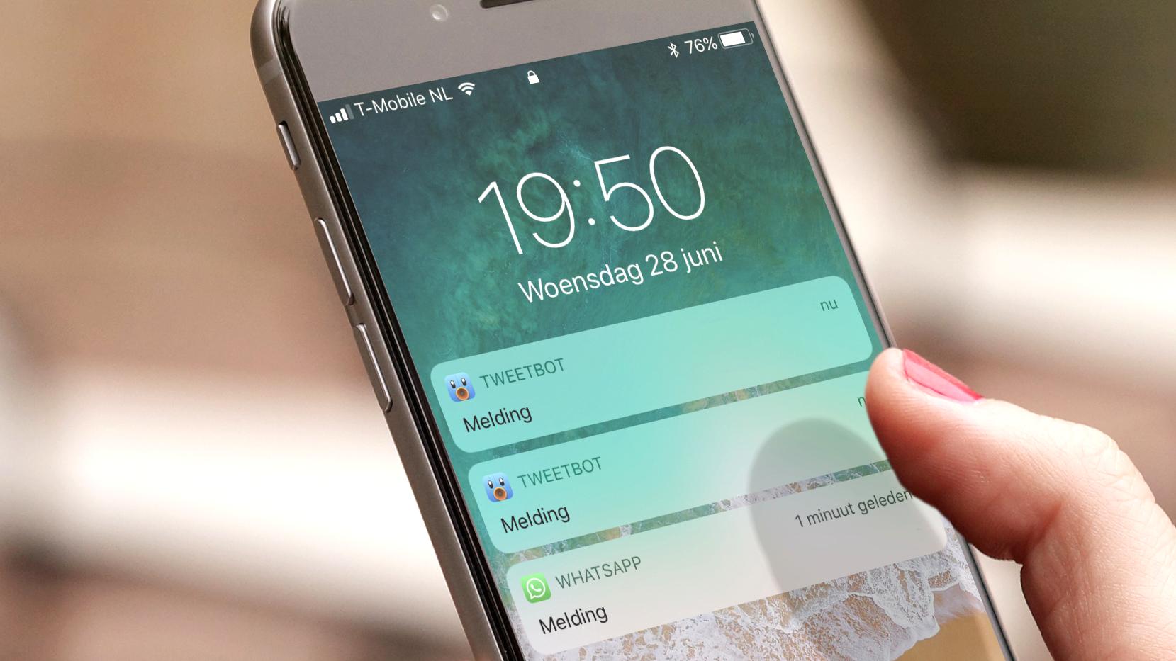 Meldingen in iOS 11. Klik/tap voor groter.