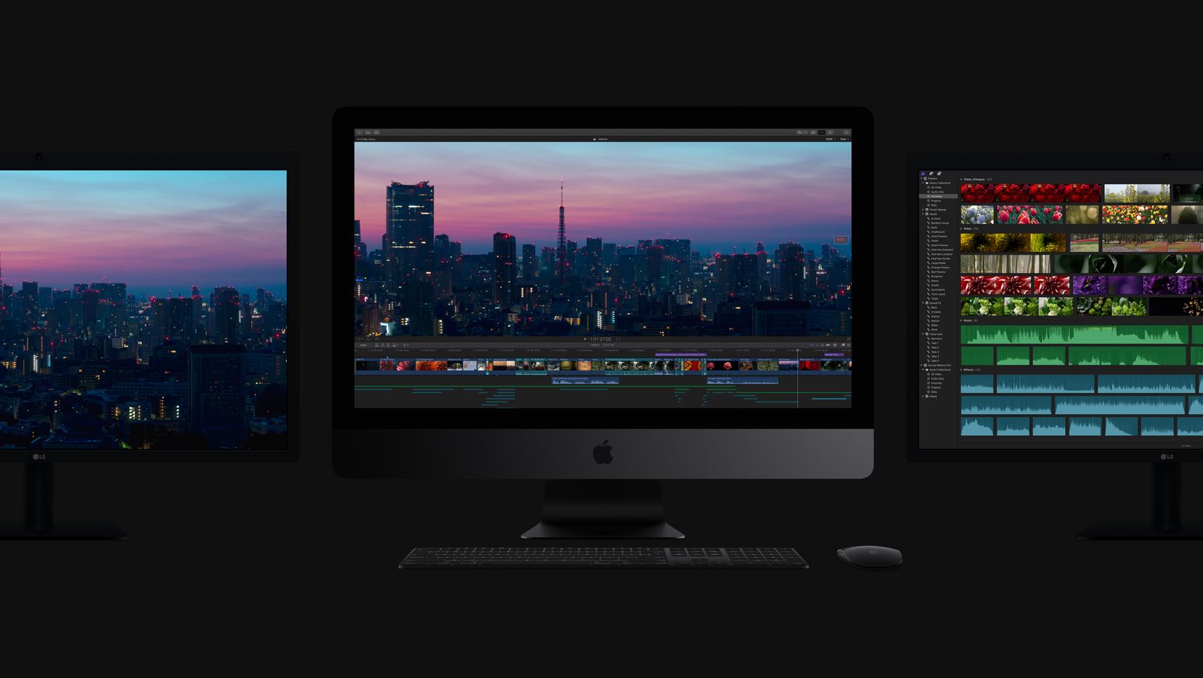 iMac Pro met 3 schermen