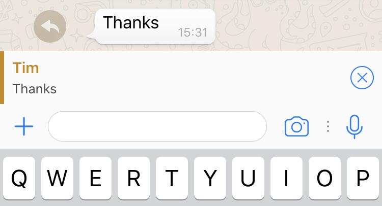 whatsapp snel antwoord