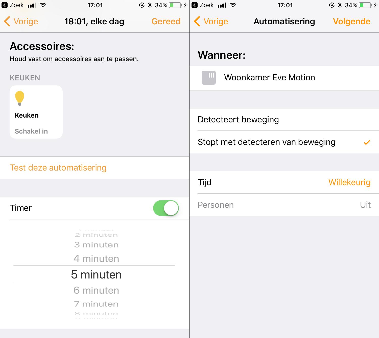 homekit woning app ios 11 timers stop