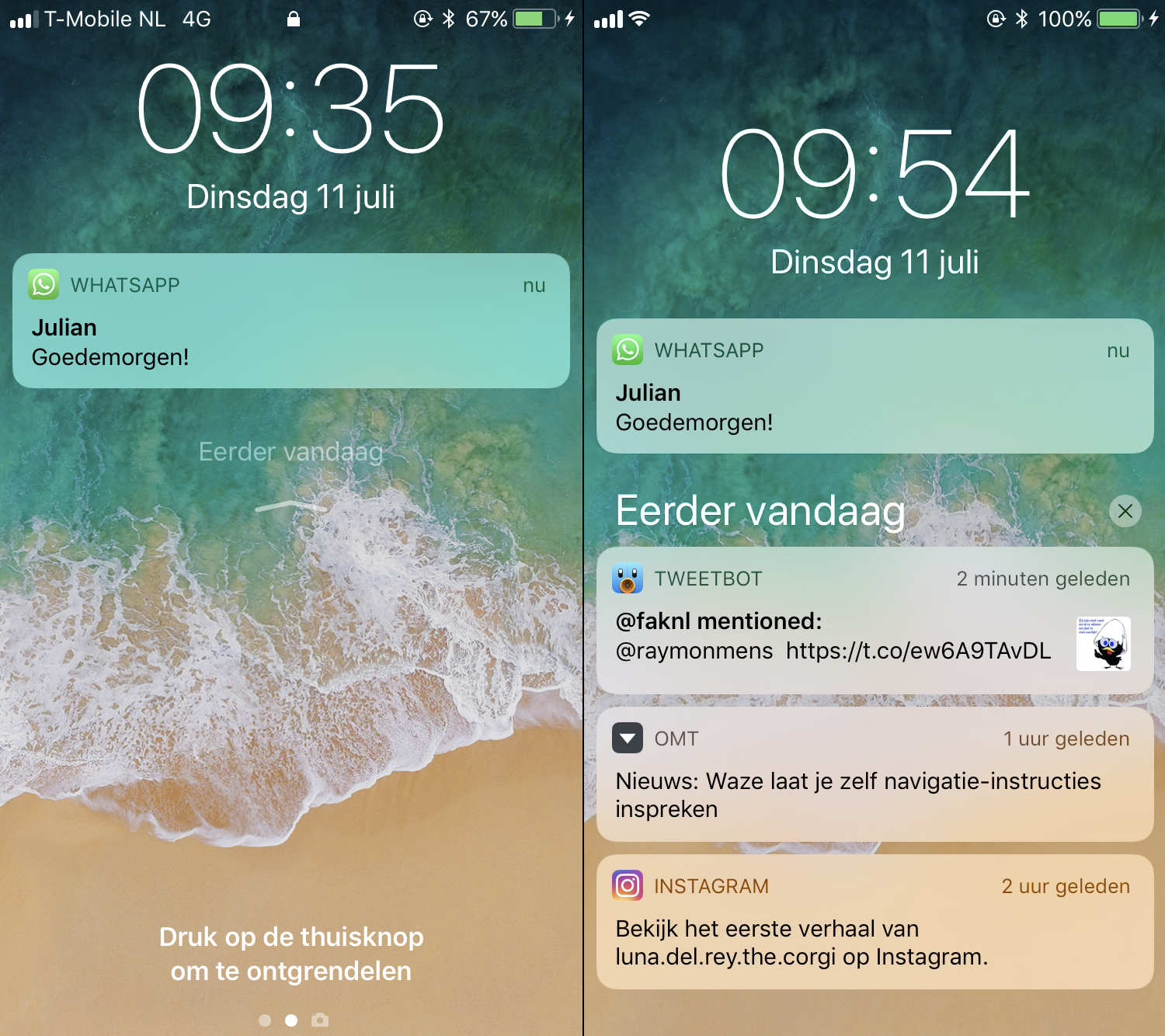 notificaties ios 11 beta 3