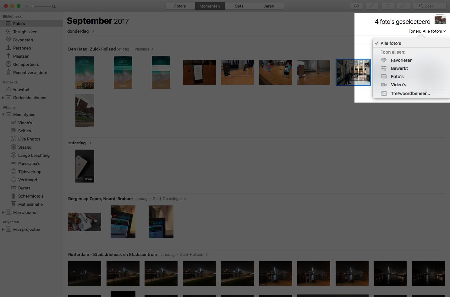 macos high sierra foto's app filter