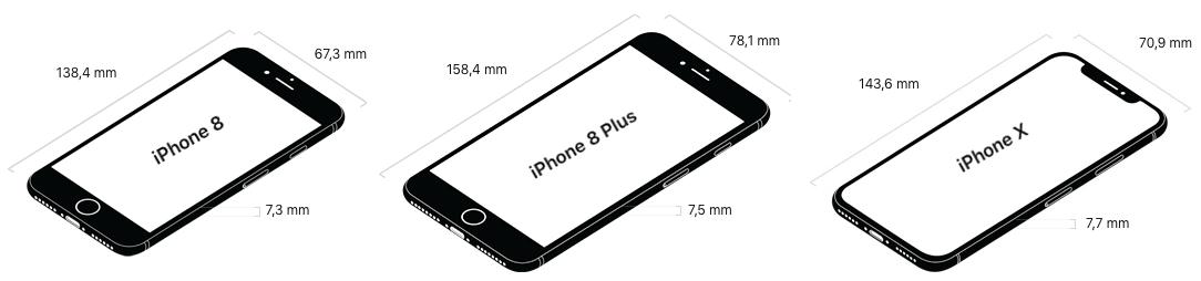 Vergelijking iPhone 8 (4,7-inch), iPhone 8 Plus (5,5-inch) en iPhone X (5,8-inch).