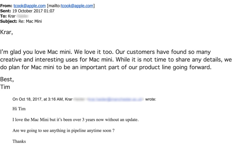 screenshot e-mail Tim Cook Mac mini