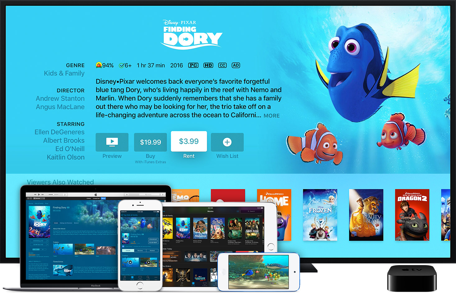 pixar disney apple tv