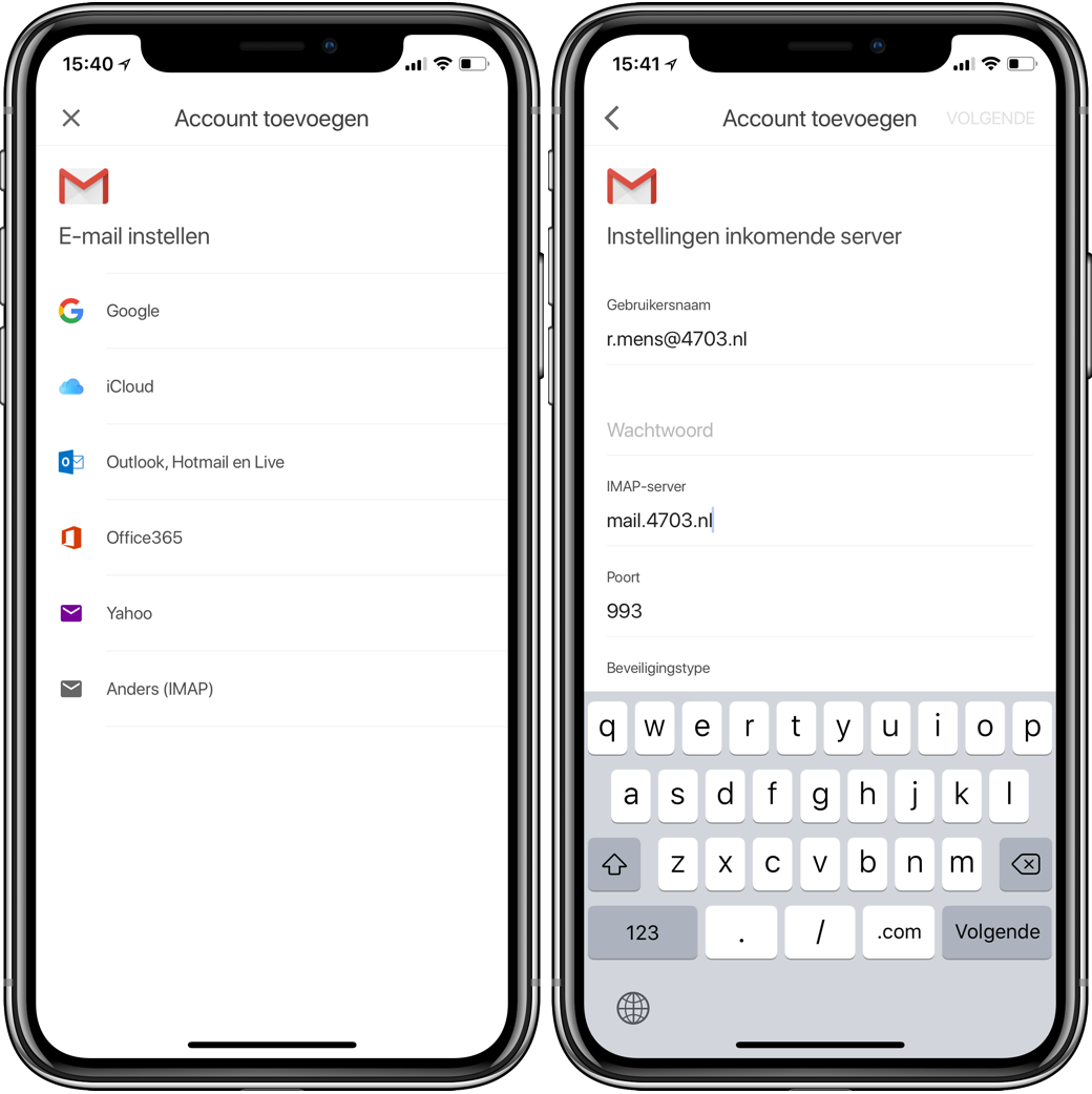 gmail-app account toevoegen screenshot