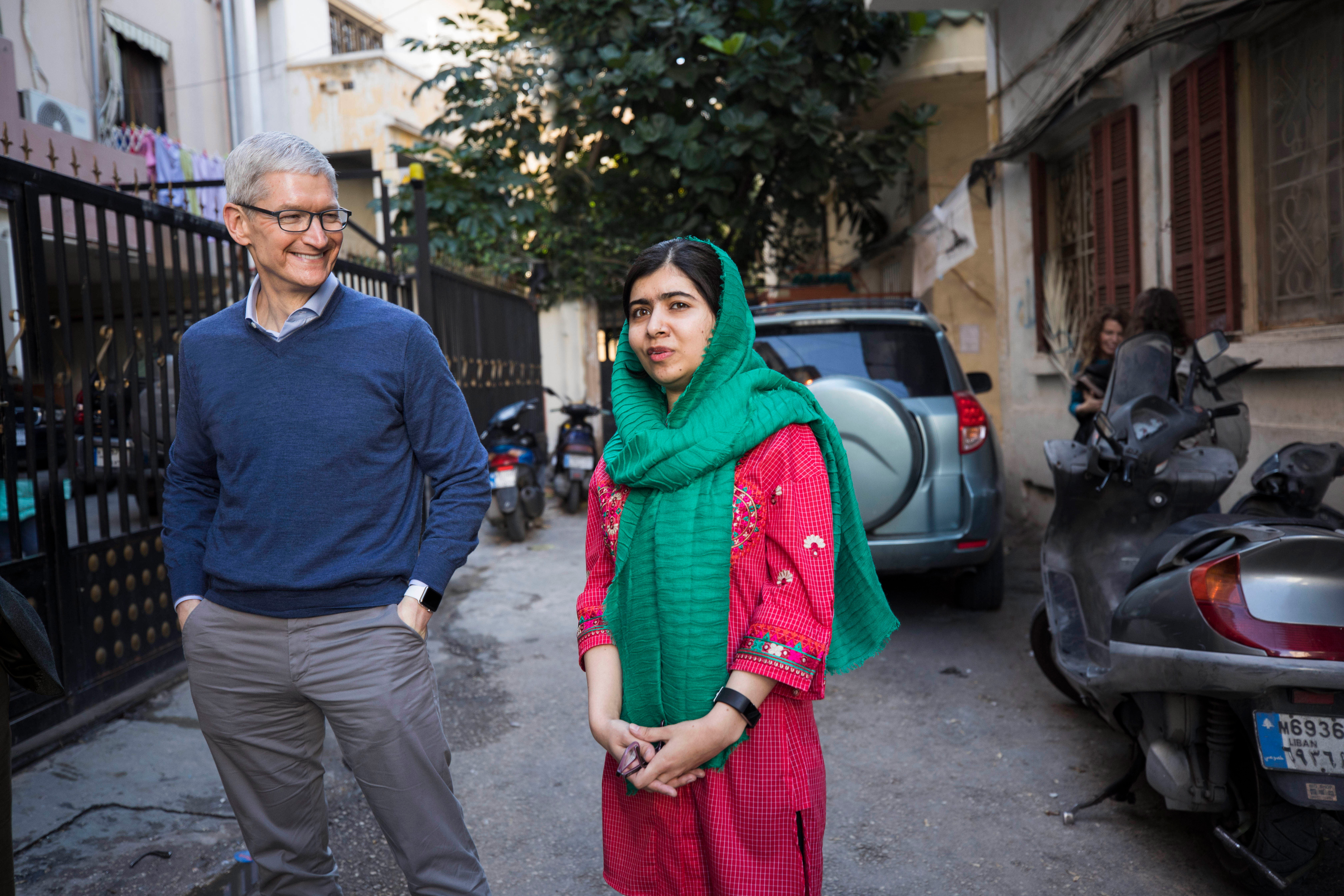 Tim Cook en Malala-Yousafzai, oprichter van het Malala Fund