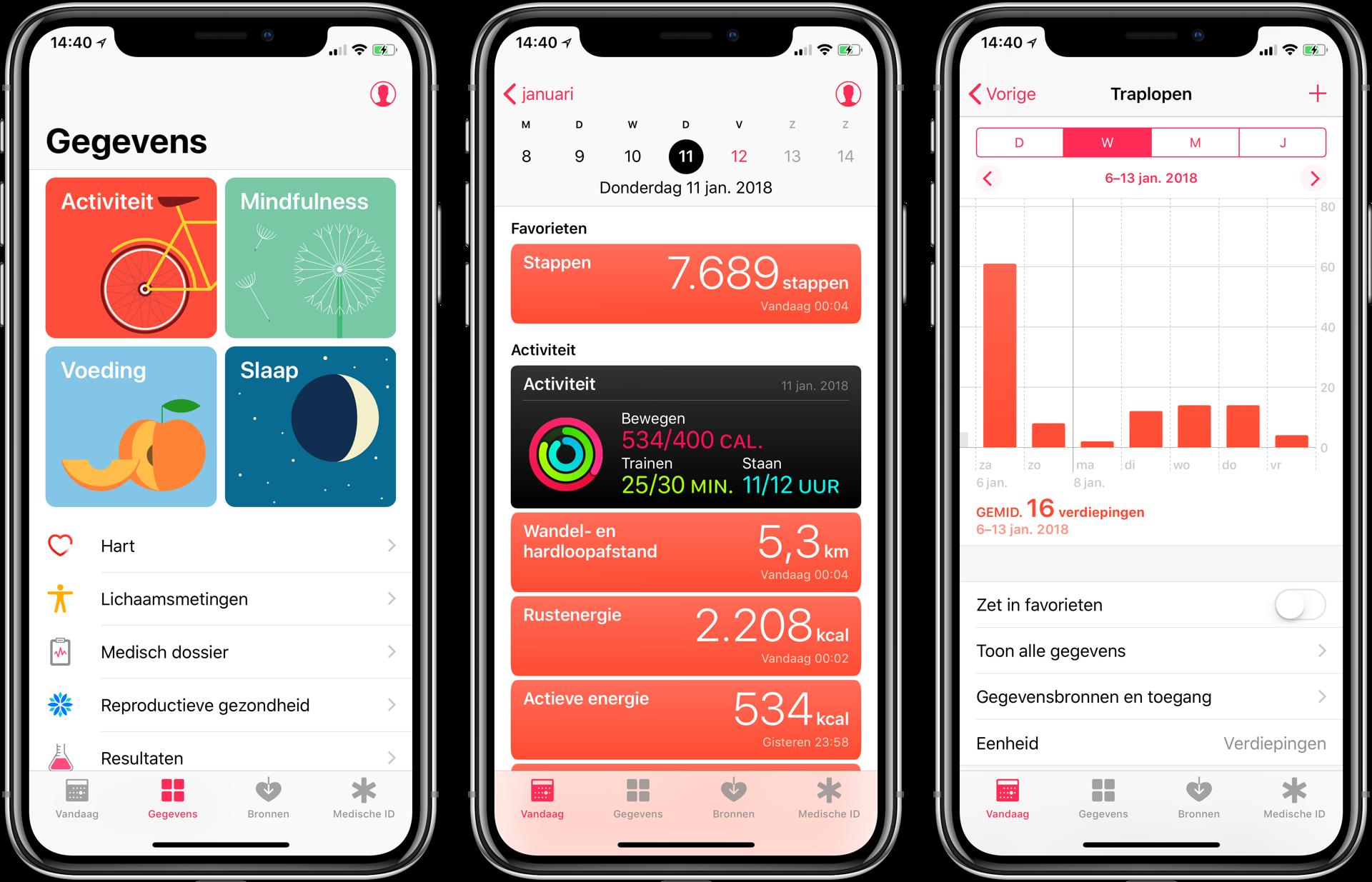 gezondheid app iphone x